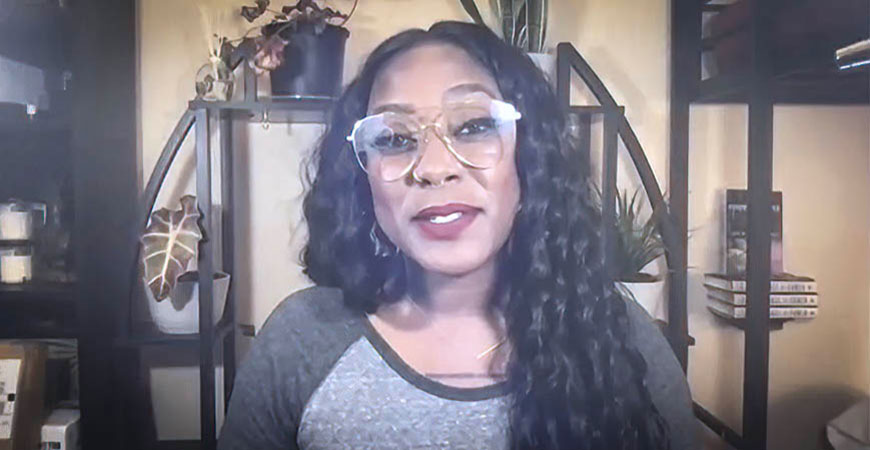 Alicia Garza speaks during a virtual event to honor her with the Spendlove Prize.