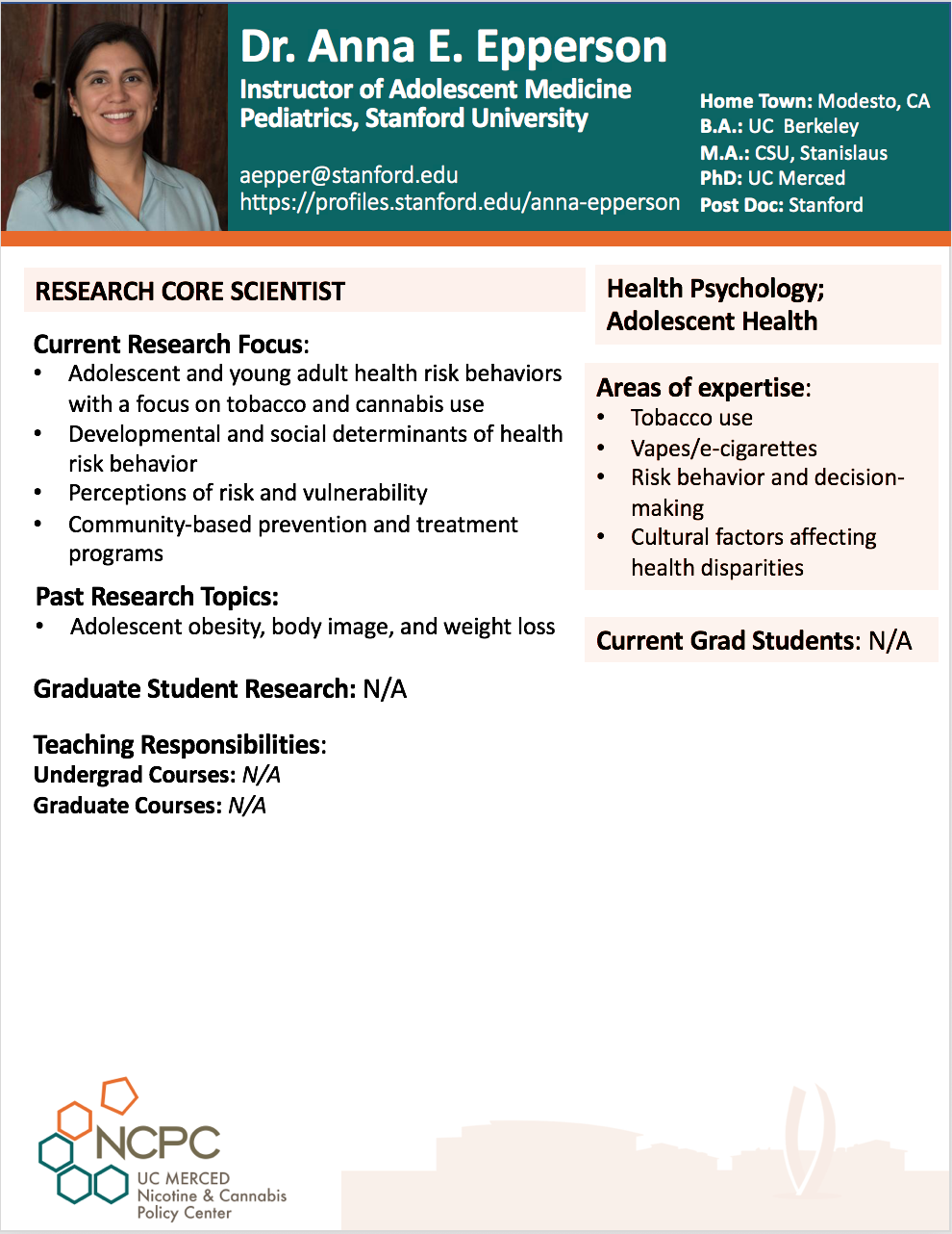 Dr. Anna Epperson NCPC Profile