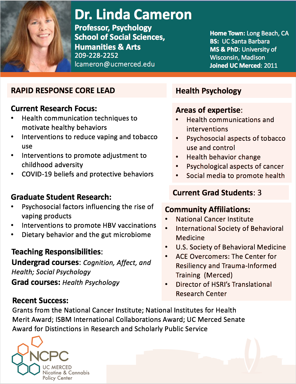 Dr. Linda Cameron NCPC RRRG Lead