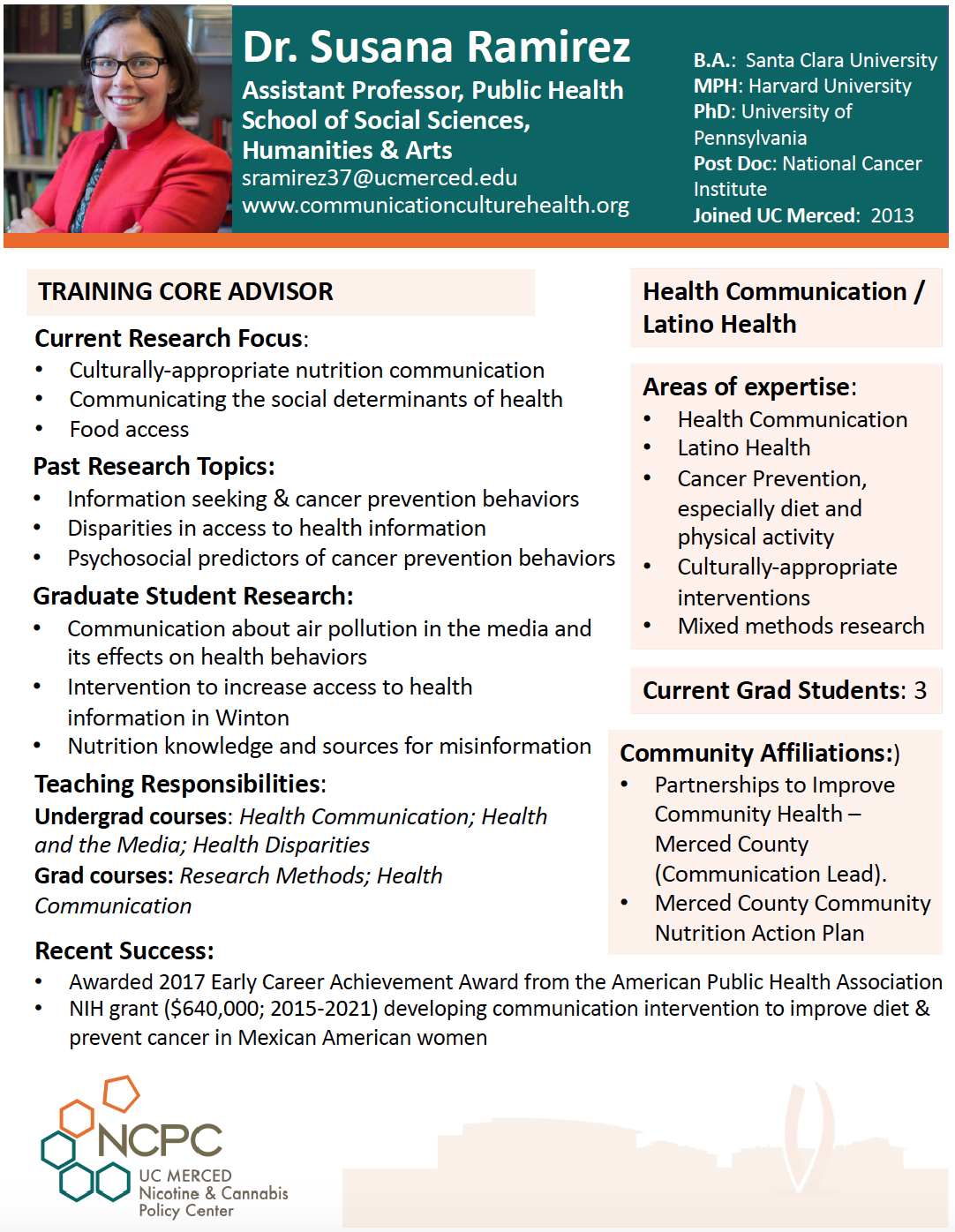 Dr. Susana Ramirez Affiliate Researcher